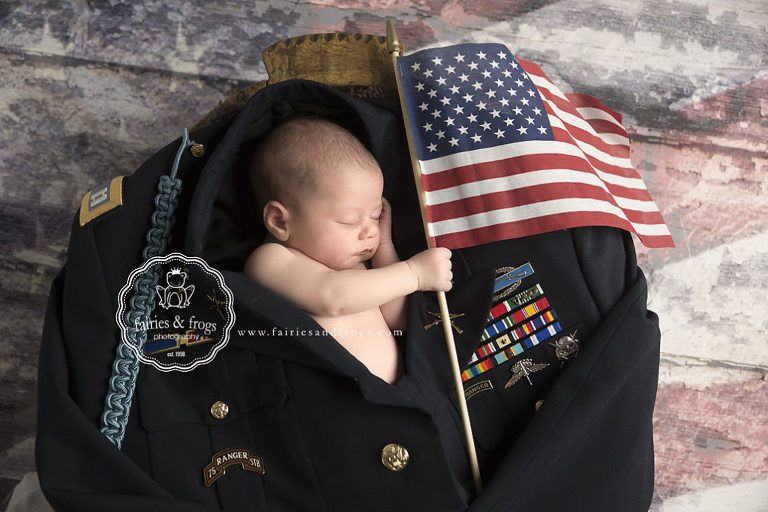Newborn-baby-photography-baby-in-uniform-fairies-and-frogs-photography-olympia-wa