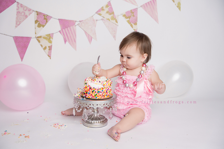 First birthday cake smash photography session in olympia
