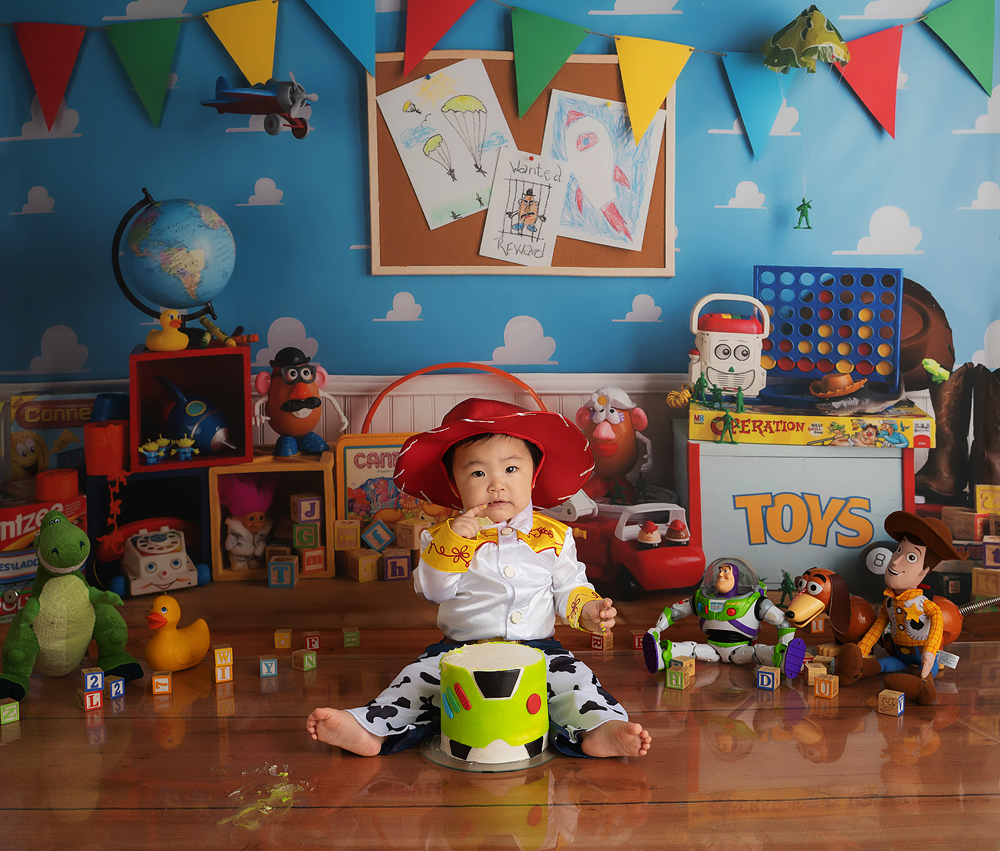 Toy Story photoshoot with a baby girl in a Jessie costume