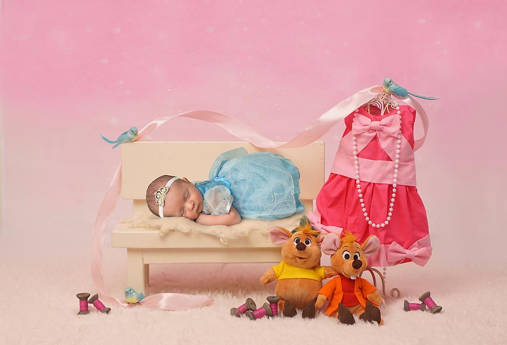 A newborn in a blue Cinderella dress sleeps on a bench next to her mice friends