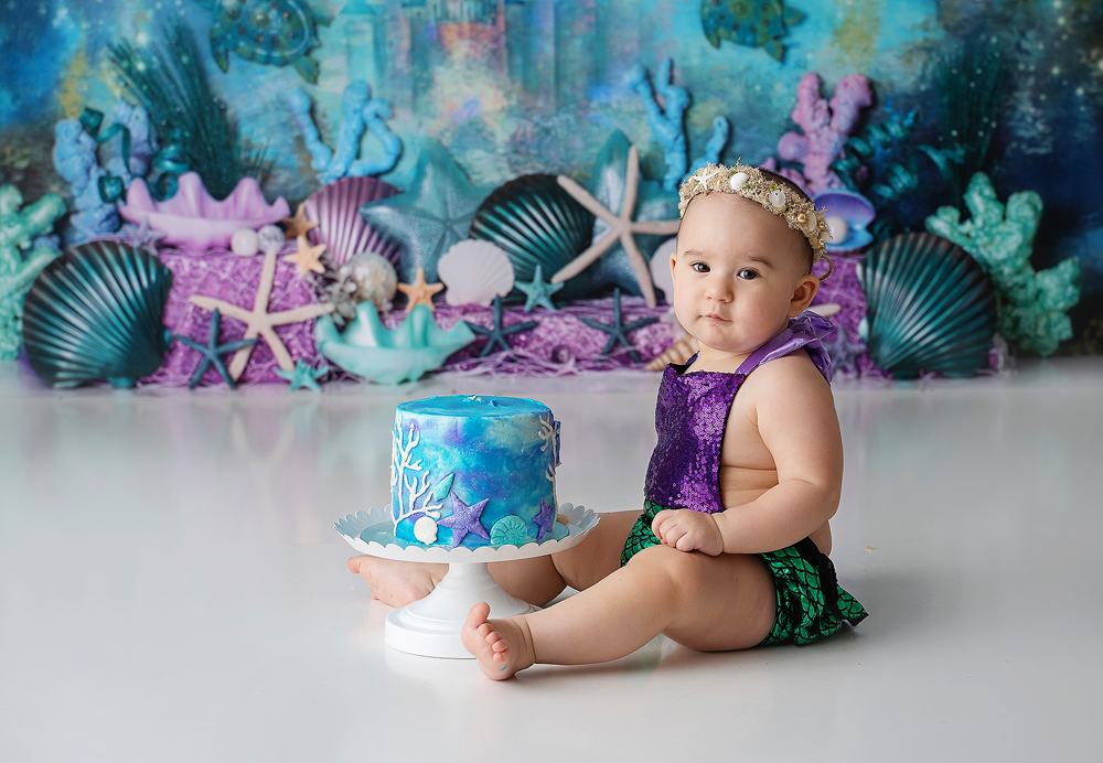 Little Mermaid baby photoshoot with a cake smash