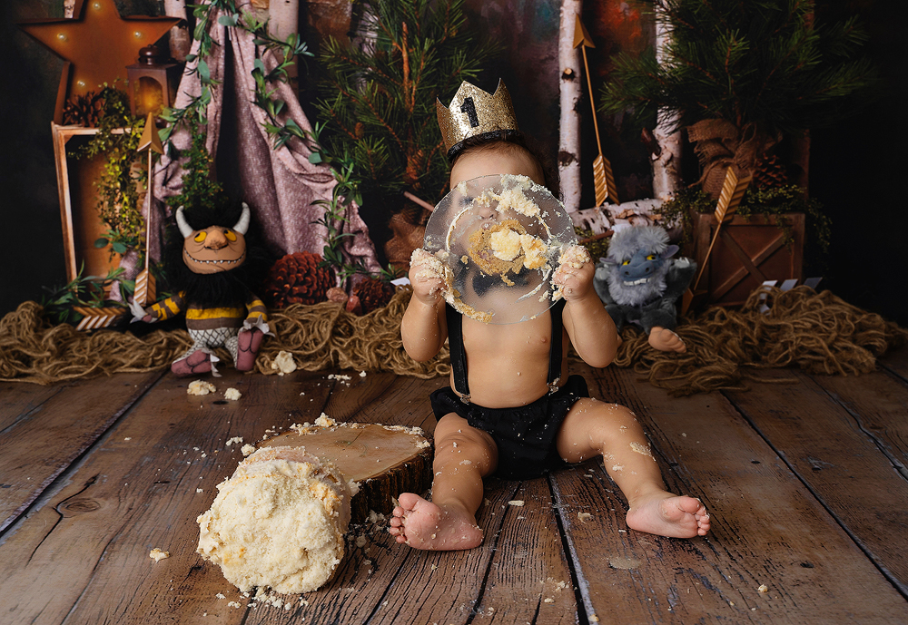 Where The Wild Things Are Photoshoot with a one-year-old licking a cake plate